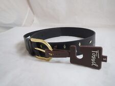 womens Fossil black leather~gold tone scattered diamonds belt, sz s, NWT