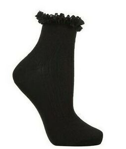 Black Or White 3 Pairs Women's / Girls Lace Trim Ankle Bobby Socks (3 Sizes)