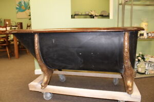 Antique Victorian Oak Rimmed Copper Lined Bathtub