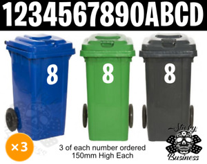 3x Wheelie Bin Numbers Stickers House FORTNITE font Wheely 150mm High 6 COLOURS!