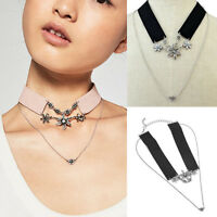 Vintage Punk Leather Collar Chain Choker Necklace Flower Crystal Pendant Jewelry