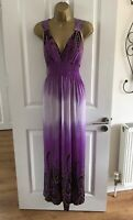 Mia Suri Maxi Dress Size UK 16 Purple Lace Shoulders Summer Womens Beach