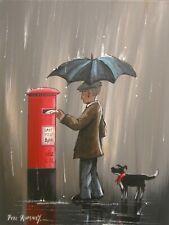 Pete Rumney Art Painting Catching The Last Post Original Pillar Box Letters NR