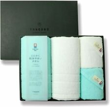 New listing Imabari Towel Bath and Face Towel 2 pieces each Light blue x white Made in Japan
