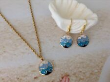 NAUTICAL SEA BLUE WAVE DESIGN ENAMEL GOLD PLATED PENDANT EARRING SET JEWELLERY