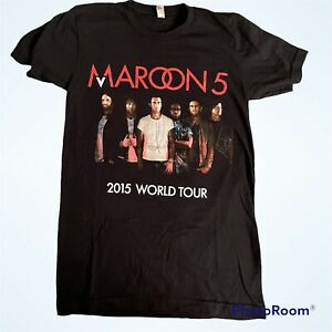Maroon 5 2015 World Tour Concert Black 2-sided T-Shirt Men's Size Small SIGNED!!