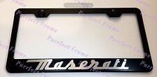 """Maserati"" LASER Style Black Stainless Steel License Plate Frame W/ Bolt Caps"