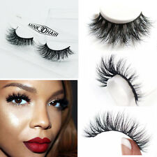 Hot 100% Real Mink Black Soft 3D False Eyelashes Cross Messy Eye Lashes 1 Pairs