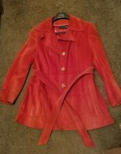 Vintage Women's Red Suede Leather Coat Jacket 1970s dj made in Uruguay size 12