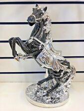 Large Italian Horse Ornament Black & Silver Romany Ceramic 43cm Tall Beautiful