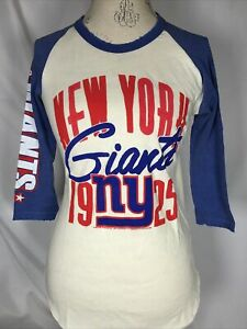 New York Giants NFL Junk Food Raglan Baseball Tee Women's T-Shirt SMALL