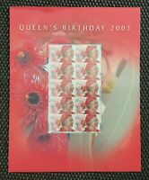 2005 STAMP PRESENTATION MINI SHEET/PACK 'QUEEN'S BIRTHDAY' -10 x 50c MNH STAMPS