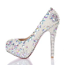 Girl Silver Bling Low High Heel Flat Bridesmaid Bridal Wedding Crystal Prom Shoe