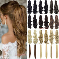 Women Mega Thick Claw Clip in Ponytail Hair Extension Solf Long Straight/Curly #