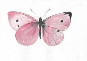 original painting 15 x 22,5 cm 335PY art samovar Modern watercolor butterfly
