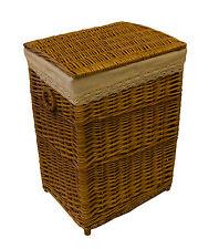 Light Brown Laundry Basket Shabby Chic Wicker Rattan Storage Bedroom