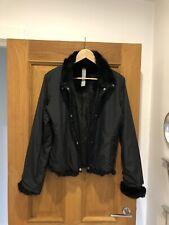 Women's SPORTMAX Code Black Nylon & Rabbit Fur Lining Popper Jacket Coat UK 14