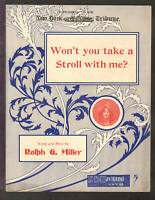 Won't You Take A Stroll With Me 1910 ESTELLE GIBSON Vintage Sheet Music Q02