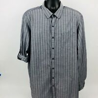 Marc Anthony 2XL Men's Shirt Slim Fit Club Gray Striped SEE COND NOTE (B)