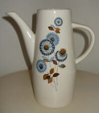Vintage 60's Worcester PALISSY Atlanta Blue Abstract Flower Tall Pottery Jug