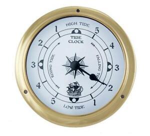 Tidenuhr, Ship's Clock, Maritime Tide Watch IN Brass Case Ø 4 11/16in