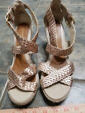 Sperry Top Sider Women's SZ 8 Leather Gold rose  braided Wedge Platform Sandals