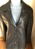 LEATHER LIMITED Ladies Black Genuine Leather Jacket Size Size M Button Front