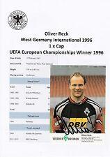 Oliver RECK Germania 1996 vincitore europea 1996 ORIGINALE FIRMATO CARTA PROMOZIONALE