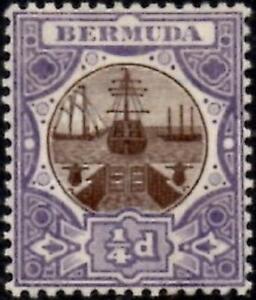 Bermuda 1908 1/4d Brown & Violet  SG.34 Mint (Hinged)  Wmk Multi Crown CA