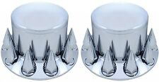 Set of 2 Chrome Semi Truck Rear Drive Axle Cover Hub Cap Spike 33mm Lug Nuts 275
