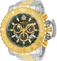 Invicta Mens 70MM Sea Hunter Two-Tone Chrono Swiss Green Dial SS Bracelet Watch
