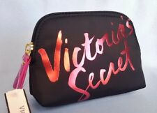 VICTORIA'S SECRET COSMETIC BAG MAKEUP POUCH CASE LOGO BLACK NWT