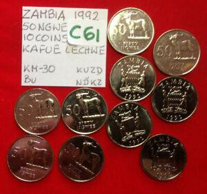 C61 Zambia; 10 Coins Lot from Mint Bag - 50 Ngwee 1992  Kafue Lechwe  KM#30  BU
