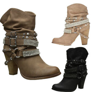 Vintage Punk Women High Heels Ankle Boots Studded Rivet Buckle Ladies Shoes Boot