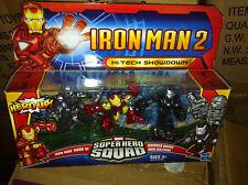 Super Hero Squad Hi-Tech Showdown Figuras Iron Man Máquina de Guerra Drone 3 Pack
