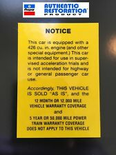 "1968 68 Super Stock Dart  Cuda Race Hemi ""AS IS"" Glove Box Warning Decal MoPar"