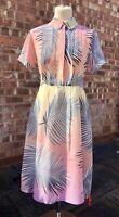 Paul & Joe Sister Pink Palm 100% Silk Dress, UK Size 12