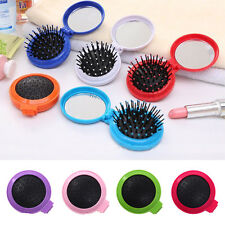 Travel Folding Hair Brush & Makeup Mirror Foldable Pocket Comb Great Gift Best