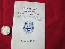 VECCHIO colfeians Cricket & LAWN TENNIS CLUB Stagione 1930 VINTAGE dispositivo CARD