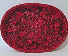 Antique Chinese Cinnabar Lacquer Carved Oval Tray