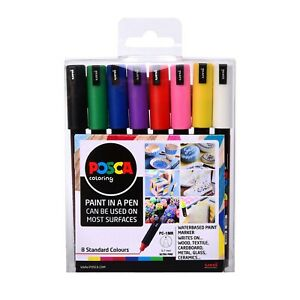 Uni Posca Paint Markers PC-1MR Ultra-Fine Set of 8 Standard Colours