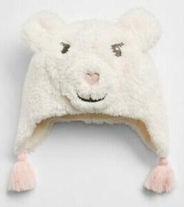 Baby Gap NWT Ivory Polar Bear Sherpa Tassel Trapper Hat S/M M/L $25