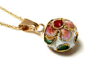 "9ct Gold Chinese Enamel Pendant Necklace and 18"" Chain Made in UK Gift Boxed"