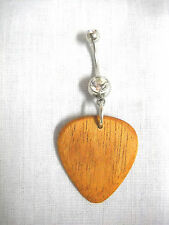 NEW HAND MADE BROWN MAHOGANY GUITAR PICK WOOD PENDANT ON CLEAR CZ BELLY RING