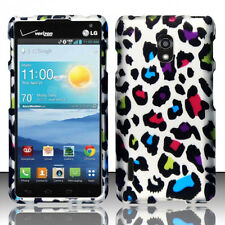 For LG Optimus F7 US780 Rubberized HARD Case Snap On Phone Cover Rainbow Leopard