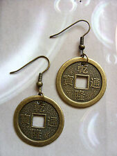 Pair Chinese Feng Shui Lucky Coins Charm ( 25mm ) Earrings,  Hippy Retro Kitsch