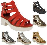 Sale Womens Ladies Ankle Straps Mid Heel Tread Flatform Chunky Sandal Shoe Size