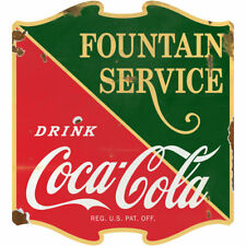 Drink Coca Cola Fountain Service 1930s Wall Decal 23 X 24 Distressed
