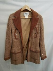 Chanel Sequin Tweed Corduroy Trim Jacket Size 38 SC