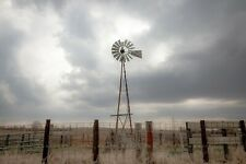 Country Photography Print - Picture of Windmill Against Silver Sky in Iowa